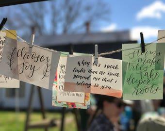 Hand Lettered Scripture Based Encouragement Cards