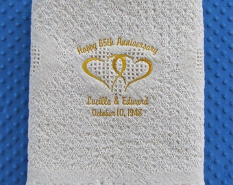 Monogrammed Wedding Blanket Gift, Custom Anniversary Blanket Gift, Personalized Wedding Anniversary Throw Blanket,  Bridal Shower Gift