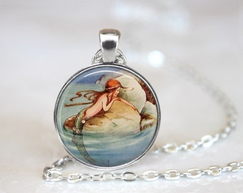 Mermaid 2 Glass Pendant, Photo Glass Necklace, Glass Keychain, Glass Jewelry