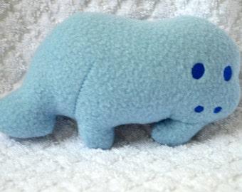 Handmade Stuffed Blue Fleece Manatee