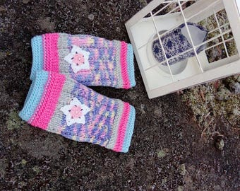 Knit Fingerless gloves,Arm warmers,Womens Fingerless,Long Fingerless Mittens,Wrist warmers,Hand Warmers,Pastel mittens,Flowers,Blue&Peach