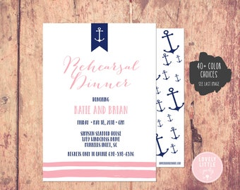 Nautical Rehearsal Dinner Invitation, Nautical Rehersal, Nautical Invitation - Lovely Little Party