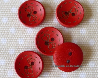 Set of 20 buttons red pattern wood bow 18mm