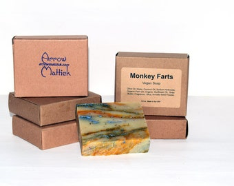 Monkey Farts Natural Soap Bar- Homemade Soap, Handmade Soap, Vegan Soap, Bar Soap, Cold Process Soap
