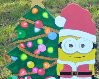 Minion as Santa Clause on Christmas lawn decoration  Lawn Signs