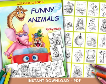 Printable Digital PDF - Funny Animals Coloring Book GRAYSCALE by Alena Lazareva Adult Coloring, instant DOWNLOAD. Coloring pages