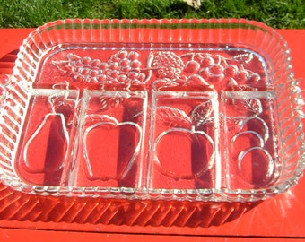 40s Divided Clear Pressed Glass FRUIT TRAY Heavy Serving Platter
