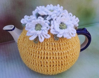 Daisy Tea Cozy, Sunshine Yellow Cozy, Crochet Tea Cozy, Summer Tea Cozy, Teapot Tea Cozy, Tea Pot Hat, Bright Yellow Tea Cozy