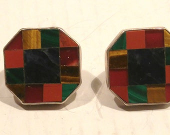 Great Falls Metal Works Colorful Mosaic and Sterling Post Earrings