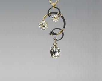 Swarovski Crystal Pendant, Clear Swarovski Crystals, Industrial Jewelry, Swarovski Necklace, Bridal Jewelry, Sparkly Earrings, Ganymede v4