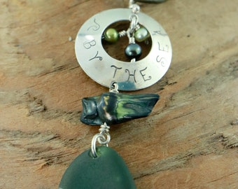 """Olive Green Sea Glass, hand stamped sterling silver disc """"By The Sea"""", freshwater pearls' pearl blister, olive green leather cord"""
