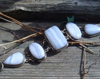 Blue Lace Agate with sterling silver bracelet   B 204
