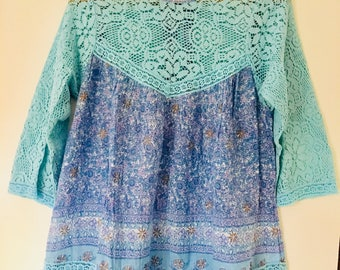 Blouse cotton Indian tunic and cotton lace