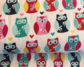 Owl Heart Flannel in Multi by Riley Blake