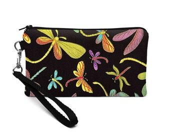 Wristlet Clutch, Padded Phone Wristlet, Galaxy S8 Hands Free Bag, Smartphone Wristlet, iPhone 8 Clutch - green purple dragonflies in black