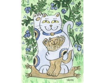 The Blueberry Neko & His Golden Kitten Enjoy a Summer Afternoon - Choose from ACEO Print, Note Card with Stickers, or Art Print