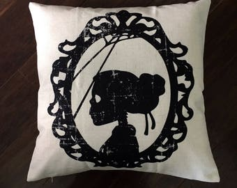 Lady Skeleton Silhouette- Halloween pillow cover