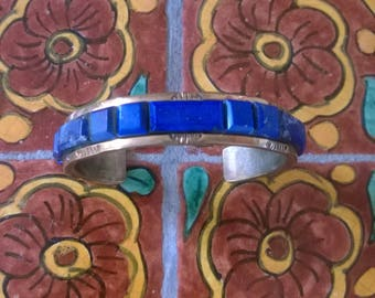 Gorgeous Vintage Lapis And Brass Cuff Bracelet