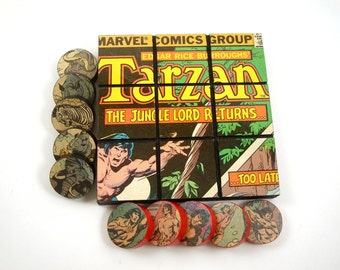 Unique Geek Gift Tic Tac Toe Game From A Recycled Tarzan Comic Book - Super Hero Jungle Adventure Decor, Game Room Decor For A Tarzan Fan