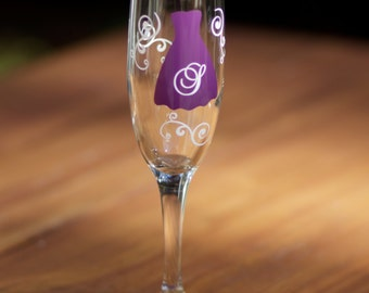 1 Bridesmaids champagne glass, Personalized wedding flutes, Maid of honor gift, Matron of Honor gift, Bridesmaid gift, Bachelorette flute