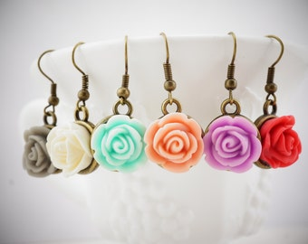 Rose Dangle Earrings - bridesmaid earrings - wedding jewelry - bridesmaid jewelry - rose earrings - vintage earrings - bronze earrings -