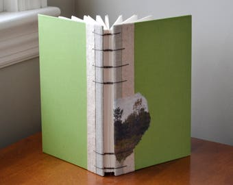 meadow sketchbook - blank book with white drawing paper, decorative handmade paper, recycled green covers, maps inside