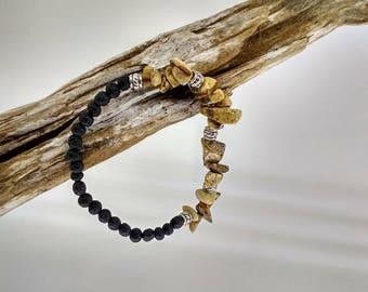Bracelet girls or women, stone, Crystal healing, zen - natural stones and lava stones