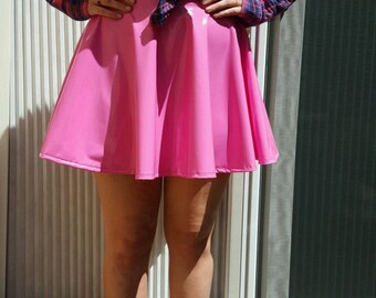 Bright Pink PVC Spandex Skater/Circle Skirt