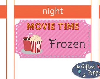 Movie Time stickers [Printable]. For Erin Condren Planner. Stickers.
