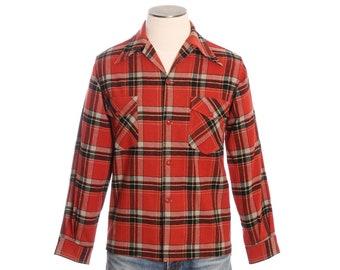 vintage 1940s red plaid mens shirt •Merrill Woolen Mills