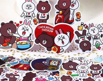Line Friends Brownie Stickers 96pc/set for children crafting luggage notebook bags home accessories decoration
