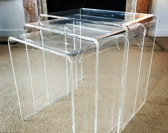 3 nesting tables etsy mid century lucite nesting tables watchthetrailerfo