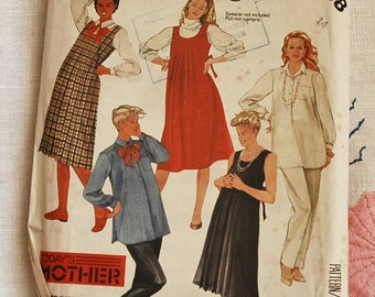 Vintage 1980s maternity wear pattern, dress, tunic, shirt and trousers, McCall's 2108, 1985, size bust 36 inches