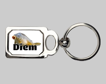 Carpe diem keychain, Seize the day, fish puns, fish keychain, carp, sarcasm, fishing keyring, carp fish, punny gift, fishing gift, dad joke
