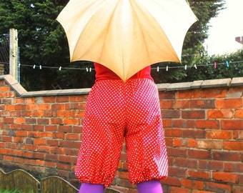 Toadstool Bloomers (red and white polkadots) - cotton, one size fits all, perfect for costume, mori, dollykei and steampunk