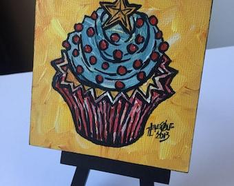 Gold Star Cupcake Mini Painting