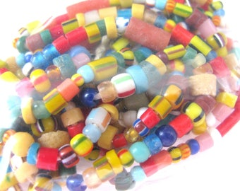 Glass beads, 38 inch strand, multicolor, 3 to 8mm, vintage beads, Jewelry supply B-6063