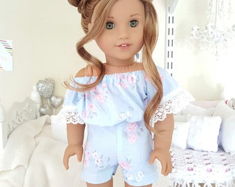 18 inch doll blue floral romper