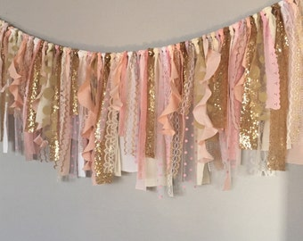 Pink, Peach &  Gold sequin curly fabric garland banner - photo prop, cake smash, backdrop, curtain valance
