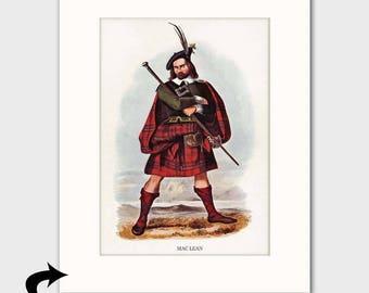 Clan MacLean Family Art Print w/Mat (Highland Dress Print, Scottish Gift, Red Tartan Kilt) --- Matted Scotland Art