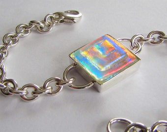 Stacked Dichroic Bracelet, Multicolor, Sparkle, Glow, Chunky Chain, Sterling Silver Bracelet, Contemporary Jewelry, Durable, Fun