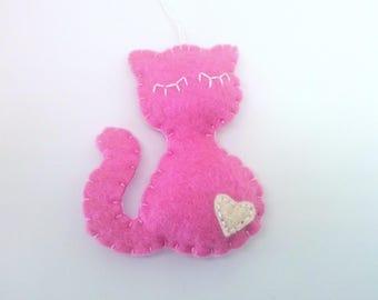 Pink cat ornament Christmas kitty home decor felt gift idea for Baby shower wool feltro filz filc black white brown grey orange eco friendly
