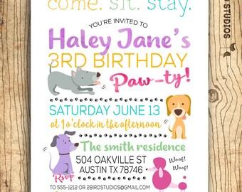 Puppy party invite etsy puppy birthday invitation filmwisefo