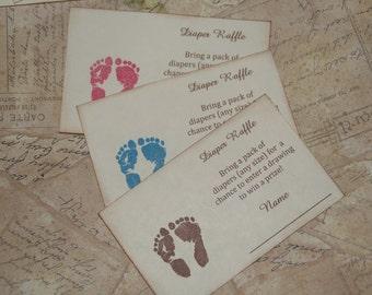 Diaper Raffle Tickets, Baby Shower Raffle Tickets, Invitation Inserts, Footprint Diaper Raffle Tickets,  Baby Feet Baby Shower, Set of 10