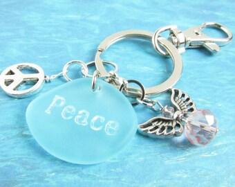 Angel Keychain, Angel Key Chain, Sea Glass Keychain, Peace Keychain, Angel Keyring, Car Accessories, Seaglass Keychain, Beach Glass Keyring