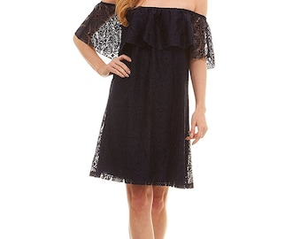 No Comment Off the Shoulder Lace Mid Length Dress with Flounce Top (See More Colors and Sizes)