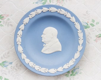 Winston Churchill Wedgwood Small Dish - Blue Ring Holder - Porcelain Small Trinket Dish