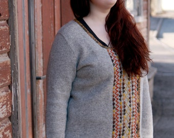 Handmade Estonian folklore woolen sweater with handmade embroidery, beads and paisley patterned welt. Plus size.
