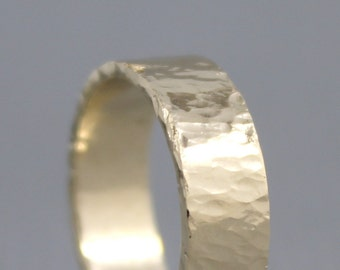Hammered Texture 6mm 14K Yellow Gold Wedding Band - Unisex - Mens Wedding Ring - Commitment Rings - Classic Wedding Band - Mens Wedding Ring