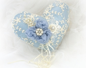 Heart Wedding Ring Pillow Dusty Vintage Blue Ivory Lace Ring Cushion with Pearls Elegant Ring Holder